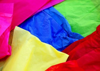 coloured material laid on top of each other